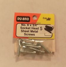 6 x 3//4 Socket Head Sheet Metal Screw Pack of 8 Du-Bro 386 No