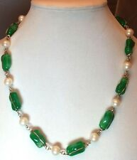 Vintage Gold-Toned Green Rectangular Glass Bead & Faux Pearl Alloy Necklace 22""