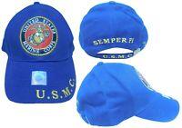 Marines Marine Corps EGA U.S.M.C. USMC Semper Fi Navy Blue Embroidered Cap Hat