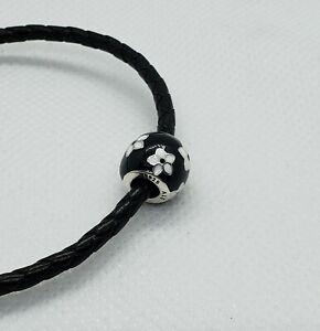 New Pandora Mystic Flower With Black and White Enamel Charm