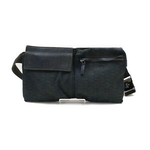 Gucci Waist Pouch Bag  Black Canvas 2306250
