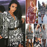 UK Womens Leopard Print Mini Dress Ladies Christmas Party V Neck Plunge Club