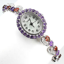 Sterling Silver 925 Genuine Natural Amethyst & Garnet Watch 7.5 Inch