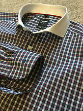 GORGEOUS OLYMP LEVEL 5 BODY FIT GINGHAM SHIRT WHITE COLLAR 15.5 COST £90
