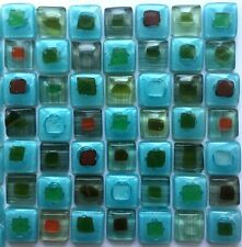 Turquoise Mix Fused Glass Mosaic Tiles Sheets Borders Hand-Painted