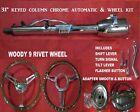 31 Tilt Steering Column Keyed Street Hot Rod Chrome Automatic Shift Woody Wheel