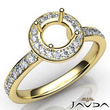 Diamond Engagement Halo Pave Setting Round SemiMount Ring 14k Yellow Gold 0.45Ct