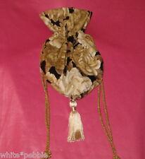 Handmade purse/bag/tote - Evening bag/Gift Bag - Flowers/Gold Highlights - Small