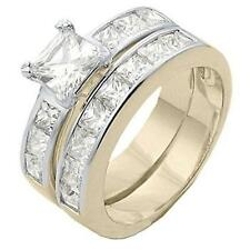 18K GOLD EP 7.2CT DIAMOND SIMULATED ENGAGEMENT RING size 10 or T 1/2
