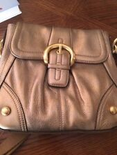 B. Makowsky NWT Gold Soft Pebble Leather Crossbody Bag with Dust Bag adj strap