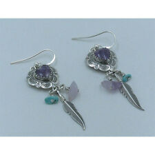 925 Sterling Silver Natural Purple Charoite Turquoise Heart Concho Hook Earrings
