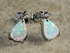 SILVER Elegant White Fire Opal Teardrop Stud Earrings Jewelry Woman Gift
