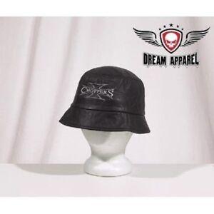 New Unisex Size Leather Choppers Biker Hat Black Leather Bucket Hat Cap BLACK