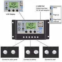 LCD 10-50A 12V/24V Solar Panel Controller Regulator Charge Battery Protection