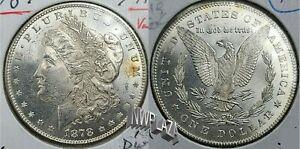 1878 P 7TF Morgan Silver Dollar UNC VAM Major Reverse Die Break/Crack Error 331C