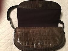 Kenneth Cole Greenish Brown MESSENGER LEATHER PURSE HANDBAG BAG NICE