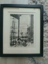 "James A.M. Whistler ""Rotherhithe"" Photoengraveur Plate 1860 Framed American"