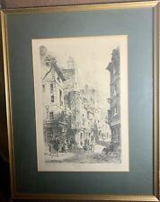 Mid Century Framed - Signed Etching By Charles Nollet 'Paris Rue Des Francs'