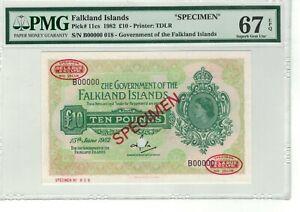 FALKLAND ISLANDS P# 11cs 1982 10 POUNDS SPECIMEN PMG 67 EPQ S GEM UNC TOP POP