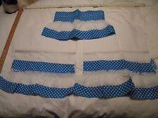 Vintage Kitchen Curtains~Bold Turquoise Color~Valance & 2 Panels