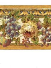 Wallpaper Border Tuscan Grapes & Roses Blue Purple Green Navy Gold and Cream