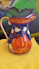 CERAMIC CLAY ART PITCHER HAND PAINTED MULTICOLOR  PEARS, GRAPES & VINES