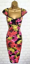Exquisite KAREN MILLEN Pink & Red Rose Galaxy Cocktail Dress UK 10 Wedding Races