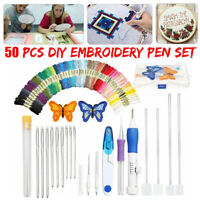 Magic DIY Embroidery Pen Knitting Sewing Tool Kit Punch Needle + 50 Threads Set.