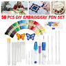 Magic DIY Embroidery Pen Knitting Sewing Tool Kit Punch Needle + 50 Threads Set!