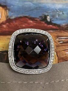 David Yurman SS Albion 20mm Amethyst & Diamond Ring. Size 7.5