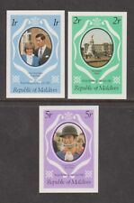 1981 Royal Wedding Charles & Diana MNH Stamp Set Maldives Imperf SG 918-920 Purp