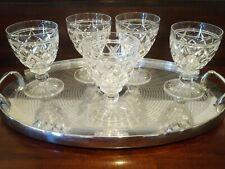 5 Vintage Stuart Crystal Diamond Cut Water Goblets Victoria Signed 8 Ounce