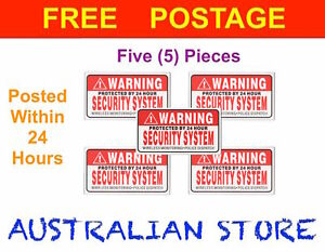 5pcs Security System Warning CCTV Stickers House Car Police Alarm Car Home Work