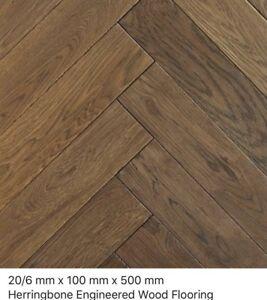 Herringbone Westminster Oak Rustic 20/6 x 100 x 500mm  engineered wood flooring