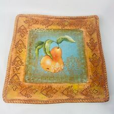 Certified International Square Platter Rustic Fruit Susan Winget Pear 12.5 Inch
