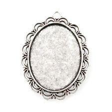 2pc Tibetan Antique Silver Alloy Oval Pendant Setting Bezel Blanks 40x30mm Tray