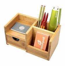 Bamboo Desk Organiser, Pen Holder with Drawer Desk Tidy