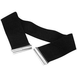 UK 8-12 Wide Black Waist 3inch Belt with Silver Buckle Women Stretch Elasticated