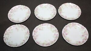 Six! LIMOGES Pink Floral BUTTER PATS French