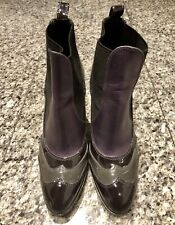 HOGAN Purple Grey Patent Leather Booties Boots