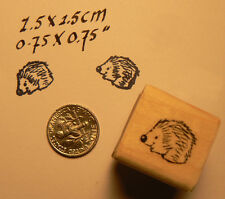 "P24  Miniature rubber stamp Hedgehog 0.5x0.6"" Wood Mounted"
