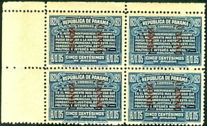 CANAL ZONE #62a 5¢ blue, ovpt reading down, Block of 4,