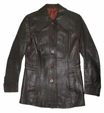 lange RETRO Damen- Lederjacke / Jacke aus den 70ern in dunkel- braun ca. Gr. 34
