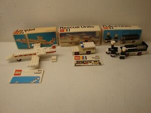 1970S LEGO LOT 445 460 455 POLICE UNITS LEANJET RESCUE UNITS WITH BOX AS IS