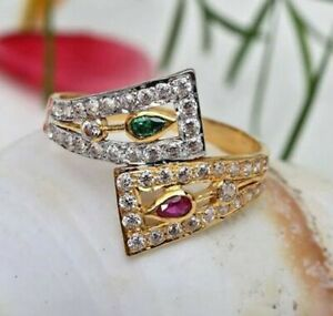 1.67CT GREEN & PINK PEAR CUT DIAMOND BYPASS ENGAGEMENT RING 14K YELLOW GOLD OVER