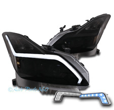 FOR 08-15 G37/Q60 COUPE SEQUENTIAL LED BLACK/SMOKE PROJECTOR HEADLIGHT +BLUE DRL