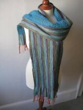 Multicoloured wool/silk striped scarf with tasselled ends