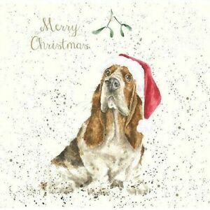 Wrendale Christmas Card Basset hound mistletoe