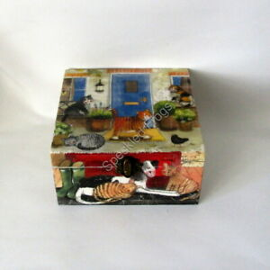 Hand decorated Box. 'Cats and Dogs,' by Speckled Frogs