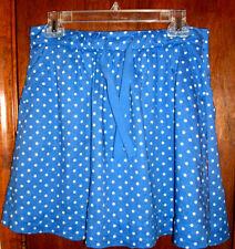 J.Crew Linen Blue Polka Dot Gathered Lined Mini Skirt w/Drawstring Waist-6